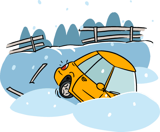 Winter driving illustration