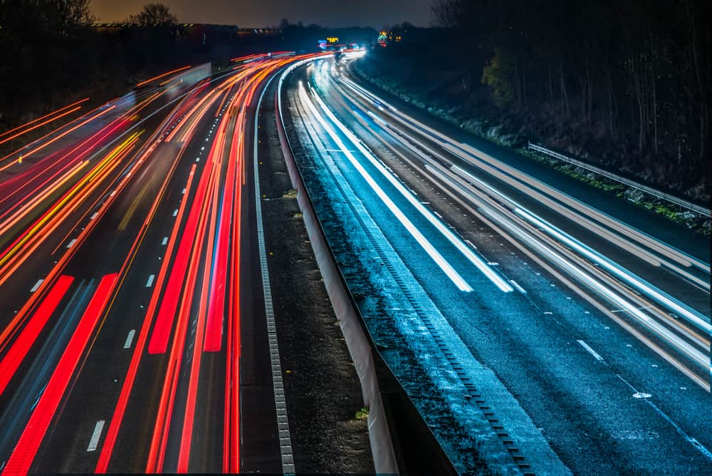 british motorway at night